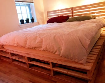 wooden pallet platform bed frame with headboard