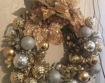 Tinsel, ornament, holiday wreath