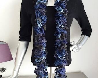 scarf turquoise blue or Navy Blue ruffled scarf