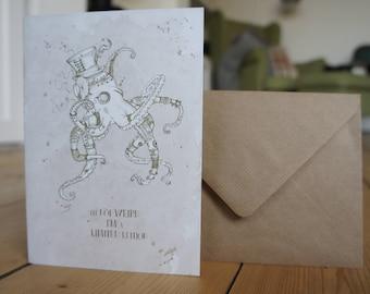 Steampunk Octopus Greetings Card