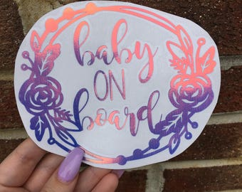 Baby on board decal in blue holographic vinyl