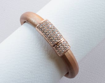 Copper Pave Leather Bracelet