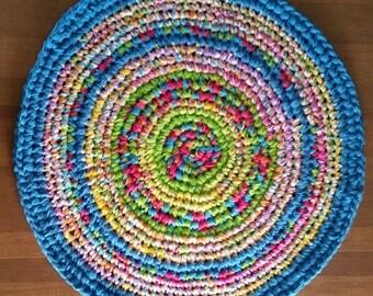 Blue Rag Rug Blue Crochet Rug Turquoise Rug Turquoise Rag Rug Round Blue Rug Crochet Round Yellow Rug Round Green Rug Blue Rug Pink Rug