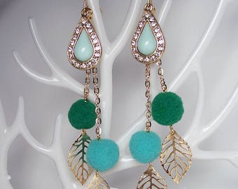 STATEMENT Drop Green Pom-Pom Gold Leaf Earrings For Holiday Party Special Occasion