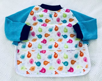 Bib covers all waterproof scalable sleeved bird motifs