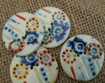Set of 4 Quirky Handmade Colourful Ceramic Buttons/Craft Buttons/Bespoke Buttons/Crochet/Knitting/Scrapbooking/Sewing/Fashion/Haberdashery/