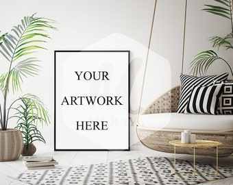 Livingroom Frame mockup, Thin black frame, Styled Stock Photograpy, Scandinavian Style Interior, PSD Mockup, Digital Item, Modern Design