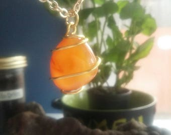 Beautiful Wirewrapped Orange Carnelian Necklace Pendant. Simple Gold Colored Wire. Handwrapped. Made in the USA!