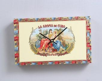 Ashton cigar La Aroma de Cuba cigar box clock. USPS Priority shipping to USA included
