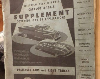 Delco-Remy electrical service parts catalog A-101-A supplement covering 1949-1952 applications