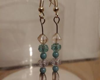 Light Blue Czech Glass Earrings