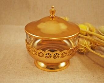 Sugar bowl with lid Retro sugar bowl Glass sugar bowl Soviet sugar bowl Vintage sugar bowl Metal sugar bowl USSR sugar bowl Vintage kitchen