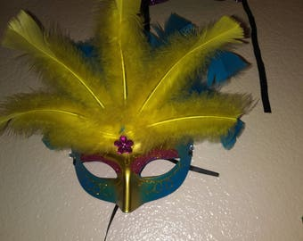 Blue and yellow masquerade mask