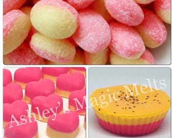 3 rhubarb and custard soy wax melts, designer dupe melts, sweet scented wax, bakery wax, food wax melts, cheap melts, highly scented tarts