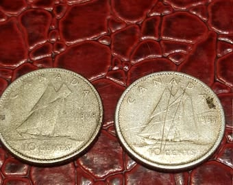 Set of 2-1957,58  Canada 10 Cent Dime Silver Coins
