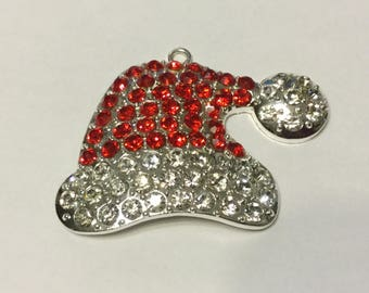 Santa Hat Charm Pendant, Red and Clear Rhinestones, Christmas