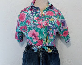 Vintage 1980s Floral Button-down Blouse