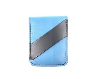 Leather Vertical Card Holder with Cash Strap Mens Wallet, Handmade Wallet, blue Leather Wallet, American Made Wallet, Leather Cardholder