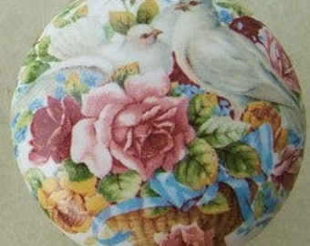 Cabinet Knob Blue Dove and roses flower kitchen cabinet hardware Door pulls