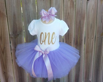 Lavender Purple and Gold Custom First Second Third Birthday Tutu Outfit Free Personalization