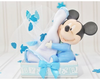 Unique baby shower favor, hugs, cuddles, mickey mouse baby shower, mickey, figurines, bomboniere, baby shower gifts, welcome, baby boy