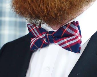 Blue and red tartan/ plaid Bow Tie Handmade