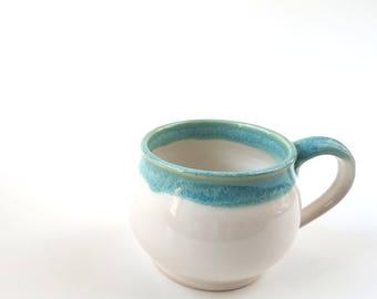 White mug, Turquoise mug, coffee mug, tea mug, white ceramic mug