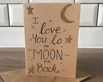 Valentines card love you to the moon