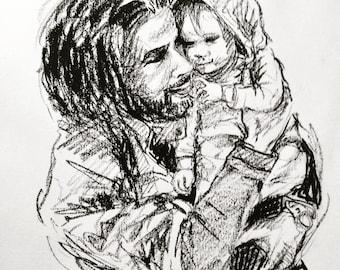 Bespoke Family Portrait Drawing, A4