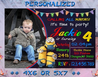 Minion Invitation, Minion Party, Minion Birthday Invitation, Minion Birthday Party, Boy Girl Minion Invitation