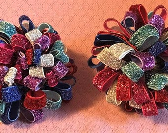 Loopy Pom Pom Bow, Rainbow Hair Bow, Glitter Bows, Fancy Bow, Girls Hair Bows, Boutique bow, Girls hair bows, Rainbow Loopy Puff Bow, Pompom