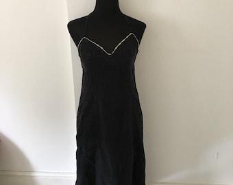 90s ARMANI JEANS long black cotton dress