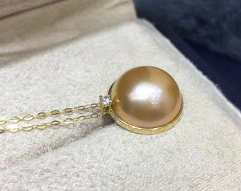 13-14mm High Quality Edison Mabe Pearl w/18K Solid Yellow Gold Adjuustable Chain, Rare Champagne Mabe Pearl Pendant Necklace Limited Edition