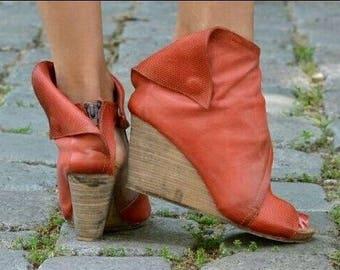 Women's summer genuine leather sundals cut out summer boots summer sundals