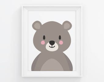 PRINTABLE Bear Nursery Wall Art. Neutral Baby Room Woodland Decor. Cute Kids Poster. Digital Print Instant Download 8x10-11x14-16x20-A4-A3