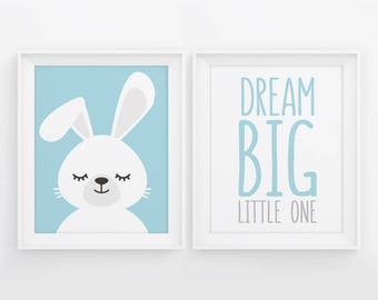 PRINTABLE Nursery Decor. Set of 2 Posters Baby Boy Room Wall Art. Blue Dream Big Little One + Sleepy Bunny. Closed Eyes Digital Prints