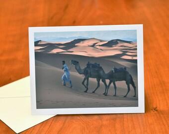 Camel Greeting Card, Travel Morocco Blank Card, Travel Photograph Fine Art Card, Morocco Card with Sahara Desert, Beautiful Blank Note Card