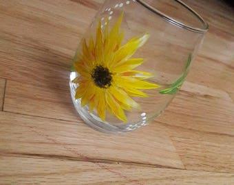 Hand Painted Wine Glass, Sunflower, Wine Glass, Gift Ideas, Summer, Flowers
