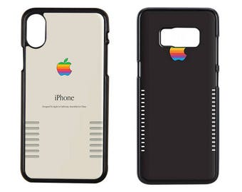 Set of 2 Retro vintage apple rainbow logo iPhone X, iPhone apple rainbow Case, Aplle Retro iPhone X Case, Aplle Retro Samsung Case, Samsung