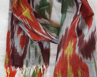 Uzbek handwoven cotton ikat scarf please check end of description section