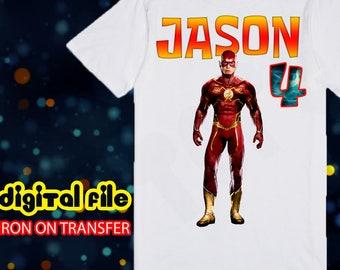 Iron On Transfer Flash Birthday Shirt, Flash Iron On Transfer, Flash Birthday Boy Iron On Transfer, Flash Personalize