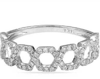 Open Link Diamond Fashion Everyday Ring