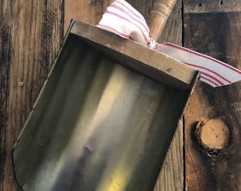 Galvanized Metal and Wood Farmhouse Grain Scoop