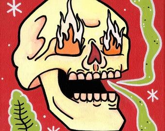 "Skull Lowbrow Pop Surrealism Day of the Dead Fine Art Print 8.5"" X 11"""
