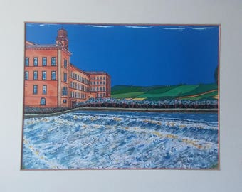 Handmade Limited Edition mixed-media print of Salts Mill, Saltaire, The Weir on the Aire, Yorkshire in natural wood effect frame