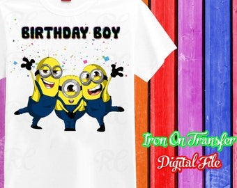 Minions Iron On Transfer, Iron On Minions, Minions Iron On, Birthday Shirt Iron On Transfer, Instant Download, Digital File Only