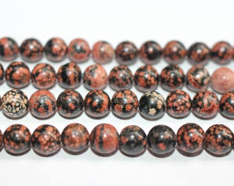 15 Inches Full strand,Red Snowflake Obsidian Smooth round beads 6mm 8mm 10mm 12mm ,loose beads,semi-precious stone