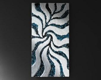 Modern bas-relief in plaster-enamel-resin