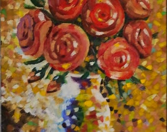 Roses oil painting Roses art Red roses painting Roses on canvas Red roses art Bright roses on canvas Red roses on canvas Gift for women Oil
