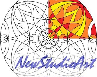 Printable Mandala Coloring Page-Art Therapy-Adult Coloring Page-Antistress-Coloring for Relaxation-Instant Digital Download - MANDALA 009